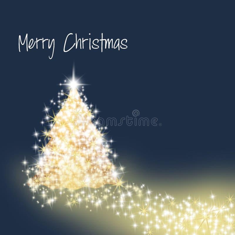 闪烁和光亮的金子圣诞树 向量例证