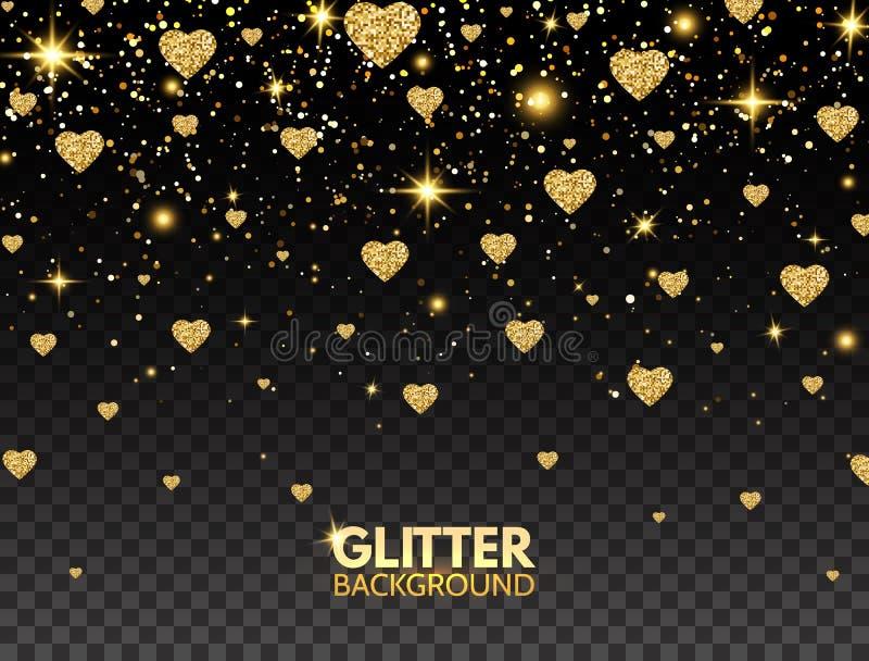 闪烁心脏五彩纸屑 金子闪烁豪华贺卡的微粒作用 闪耀的纹理 情人节明亮的设计 向量例证