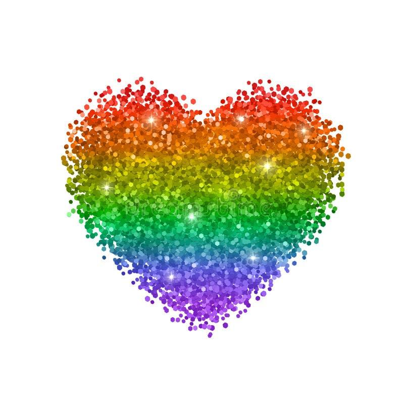 闪烁心脏,彩虹的颜色, LGBT标志 背景查出的白色 向量 皇族释放例证
