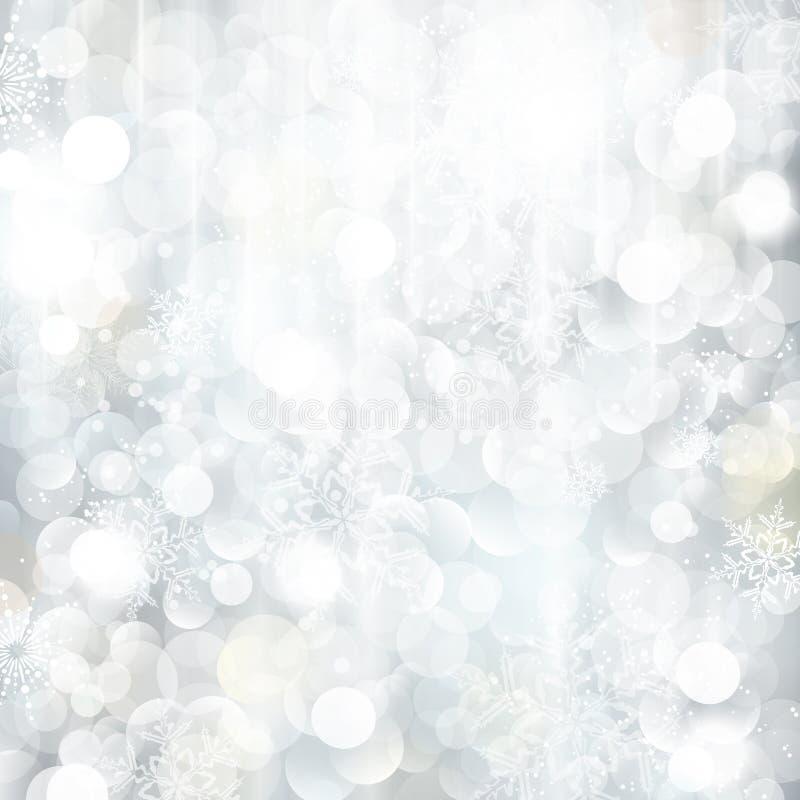 闪烁的银色圣诞节背景 向量例证