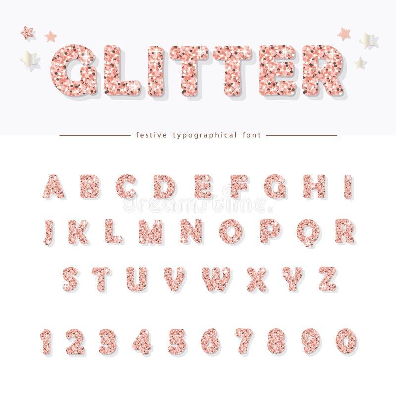 闪烁粉末桃红色字体 庆祝的,党,生日设计魅力字母表 娘儿们 皇族释放例证