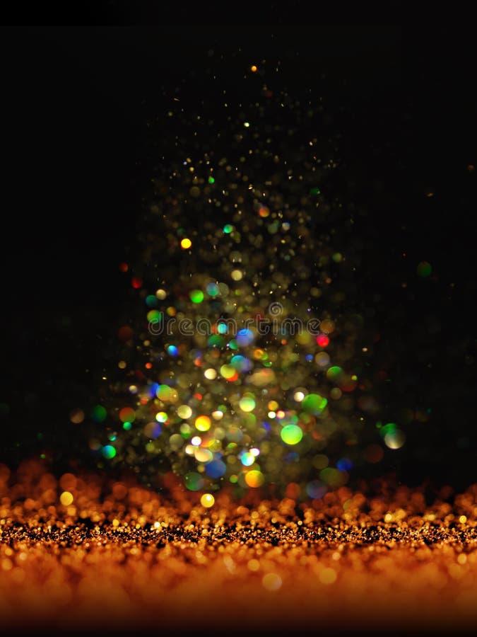 闪烁葡萄酒点燃背景 黑暗的金子和黑色 袋子看板卡圣诞节霜klaus ・圣诞老人天空 免版税库存照片