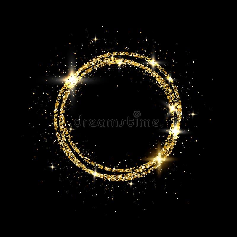 闪烁金与空间的圈子框架文本的 在黑背景的闪耀的金黄框架 明亮的闪烁的星团 向量例证