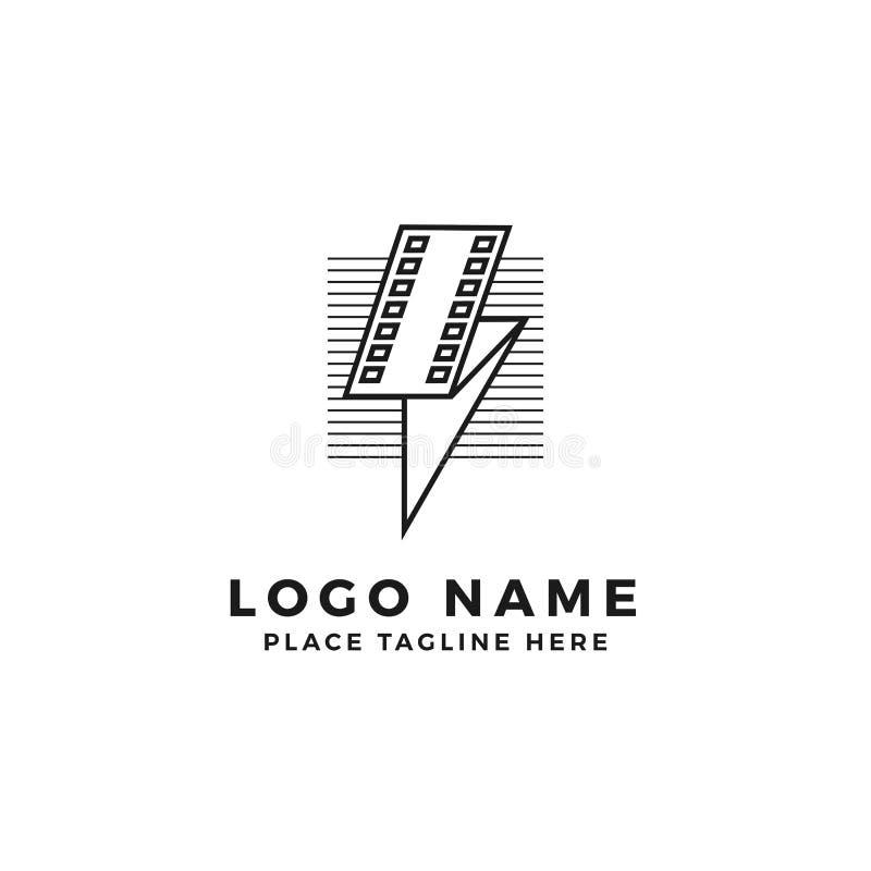 闪电与线条纹商标品牌的影片小条 被折叠的雷电电影例证 简单的概述样式标志 向量例证