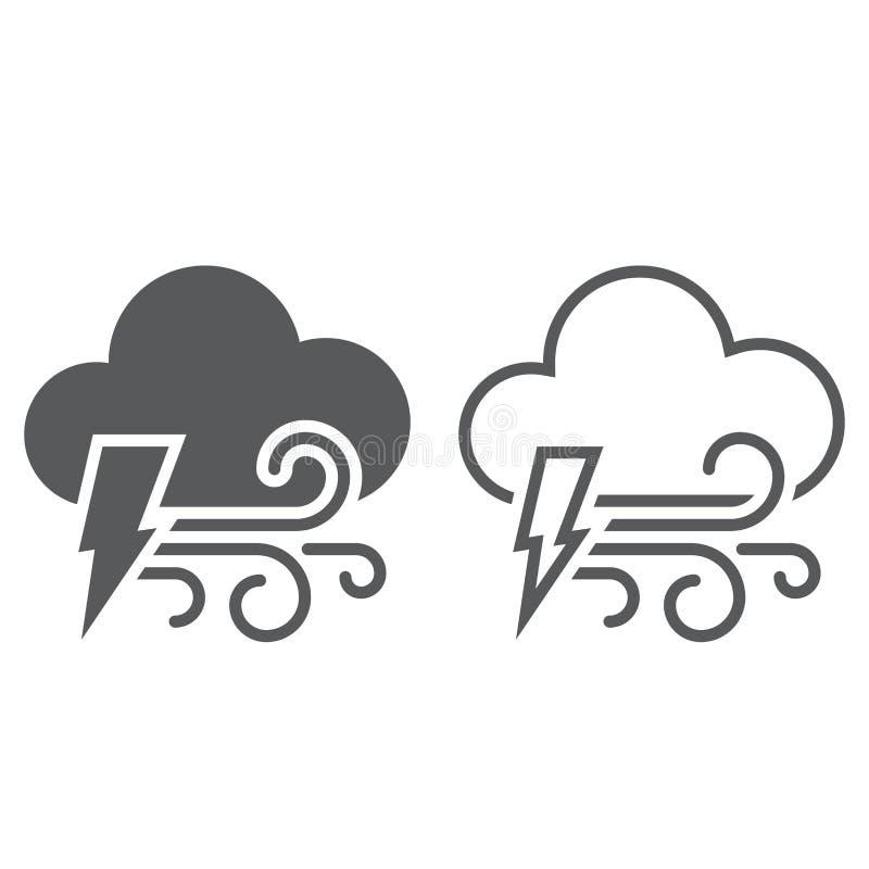 闪电和风象 固体和概述 向量例证