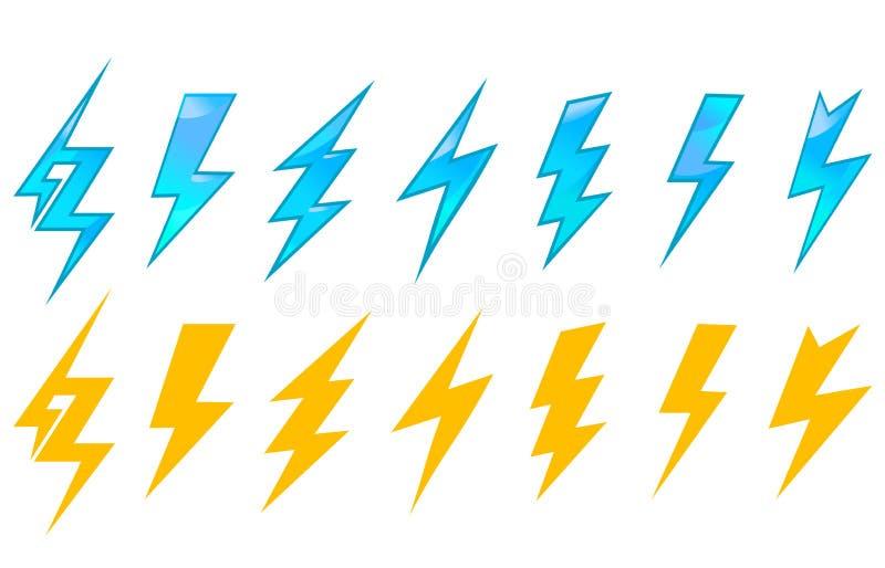 闪电图标和符号 皇族释放例证