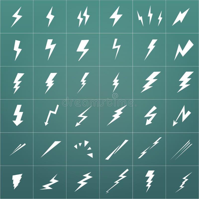 闪电在现代背景隔绝的传染媒介集合 简单的象风暴或雷和雷击 向量例证