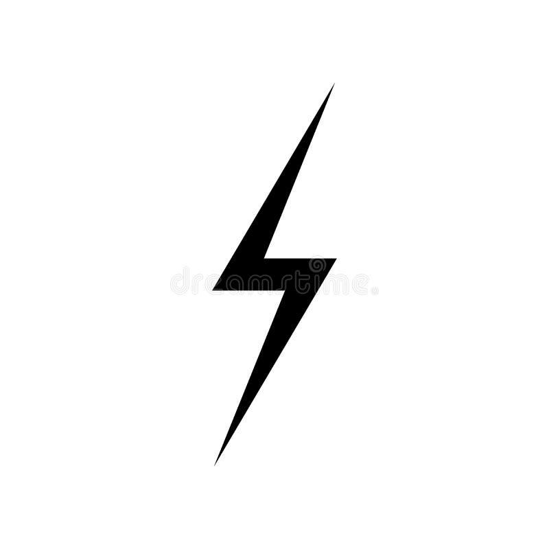 闪电象传染媒介 简单的平的标志 在白色背景的完善的黑图表例证 库存例证