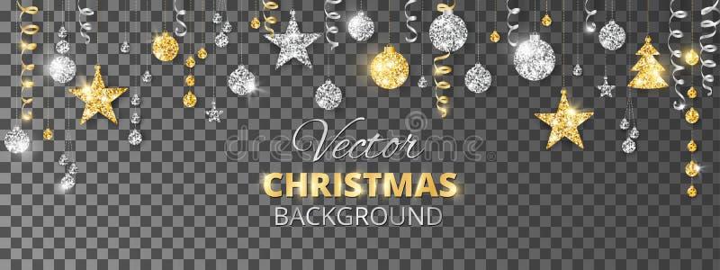 闪耀的圣诞节闪烁装饰品 金子和银节日边界 有被隔绝的垂悬的球和丝带的诗歌选  向量例证