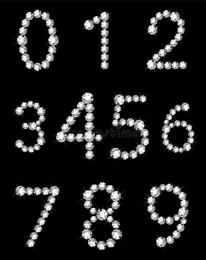 闪耀的白色金刚石数字 向量例证