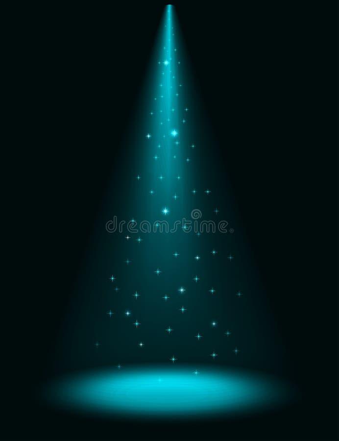 闪耀的聚光灯阶段 向量例证
