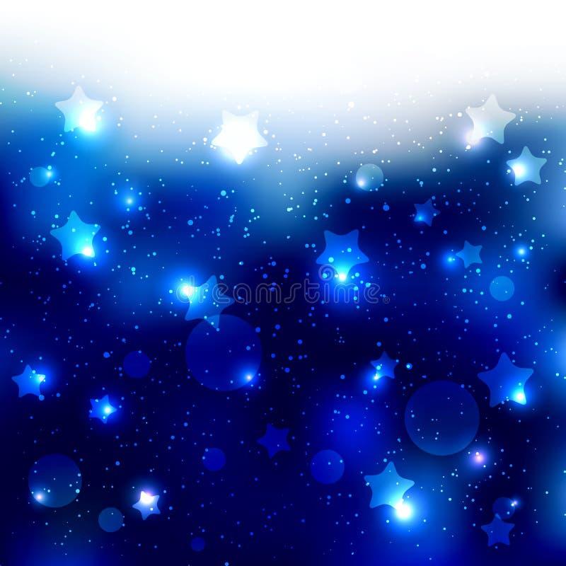 闪耀的蓝星庆祝背景 库存例证