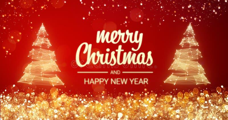 闪耀的金和银光xmas在红色背景,雪的树圣诞快乐和新年快乐问候消息 向量例证