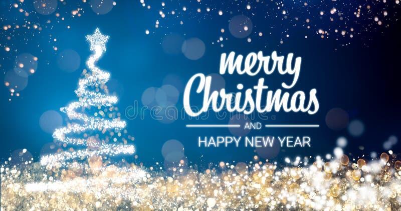 闪耀的金和银光xmas在蓝色背景,雪的树圣诞快乐和新年快乐问候消息 向量例证