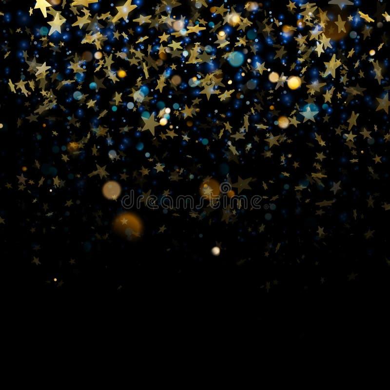 闪耀的金黄不可思议的发光的在深蓝bokeh背景的尘土金黄圣诞节和新年闪烁的星 EPS 皇族释放例证
