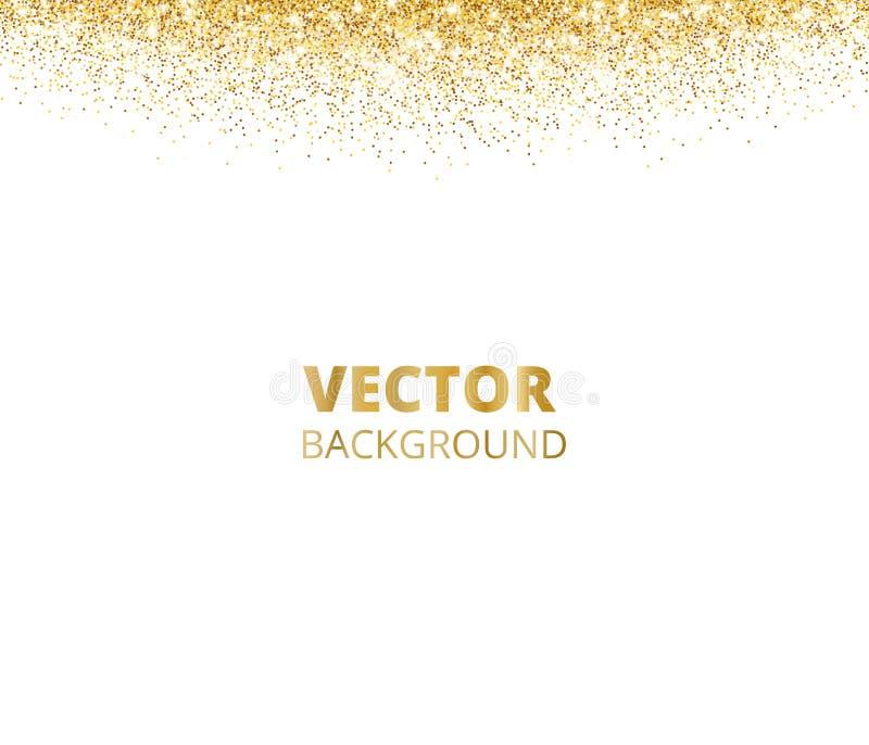 闪耀的闪烁边界,框架 在白色背景隔绝的落的金黄尘土 导航金闪烁的装饰 向量例证