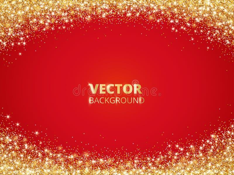 闪耀的闪烁边界,框架 在红色背景的落的金黄尘土 导航金闪烁的装饰 皇族释放例证