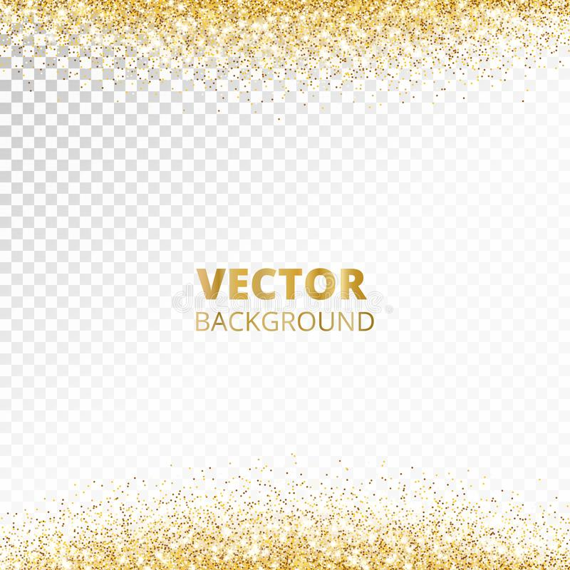 闪耀的闪烁边界,框架 在透明背景隔绝的落的金黄尘土 传染媒介装饰 向量例证