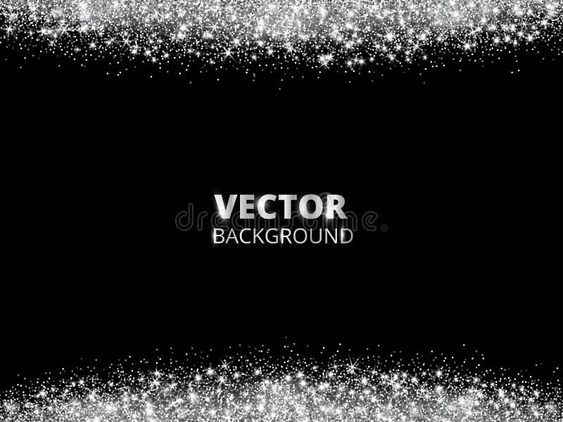 闪耀的闪烁边界,框架 在黑背景的落的银色尘土 传染媒介闪烁的装饰 皇族释放例证