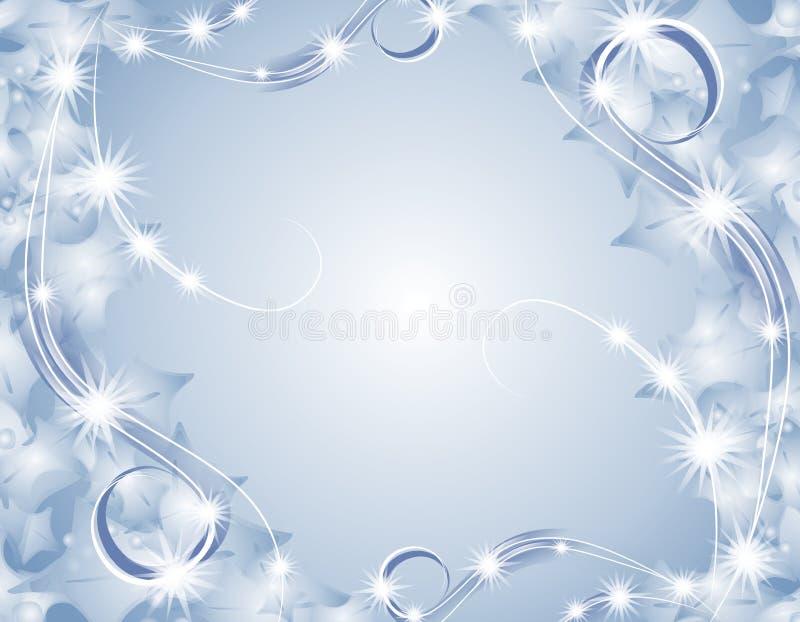 闪耀背景蓝色的圣诞灯 向量例证