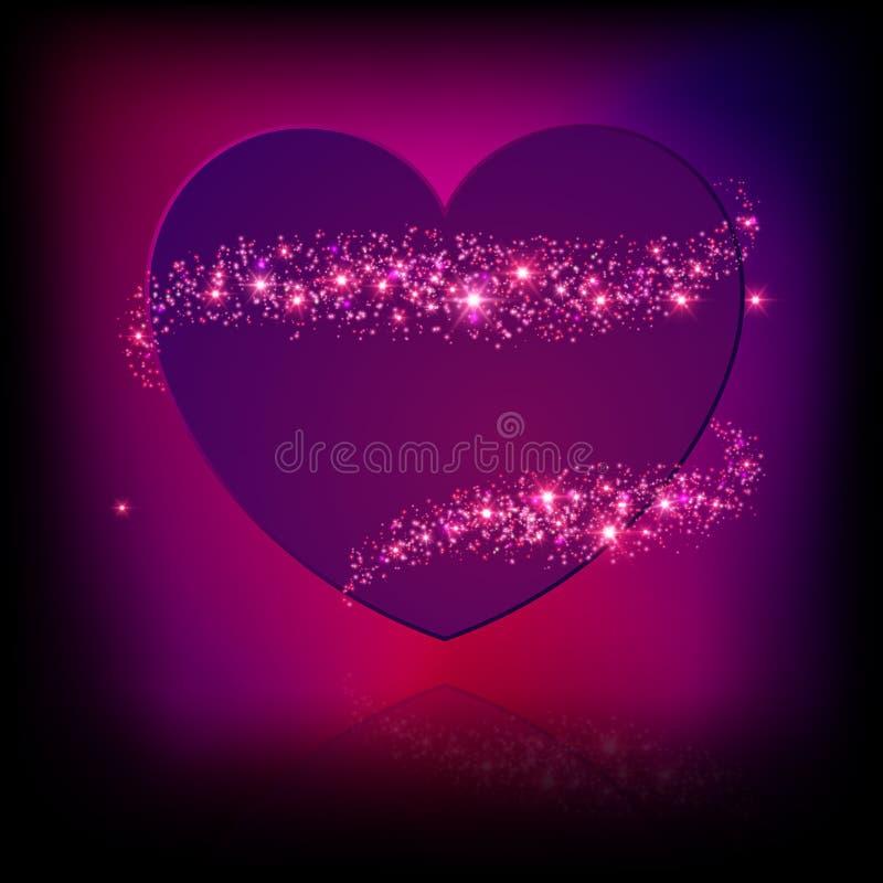 闪闪发光明亮的桃红色心脏。 皇族释放例证