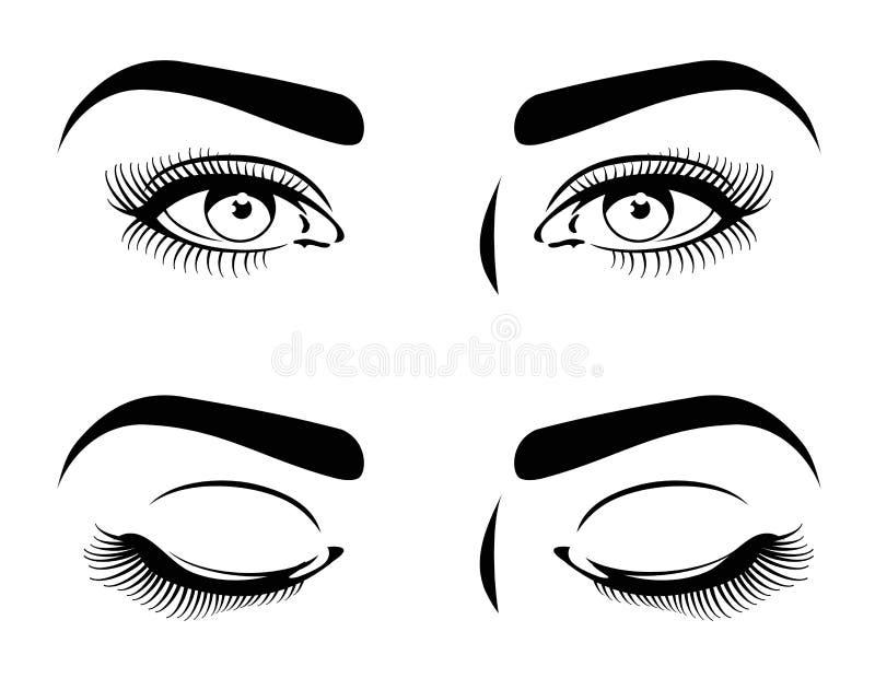 闭上并且张开美丽的妇女的眼睛,长的睫毛 化妆式样传染媒介集合 皇族释放例证