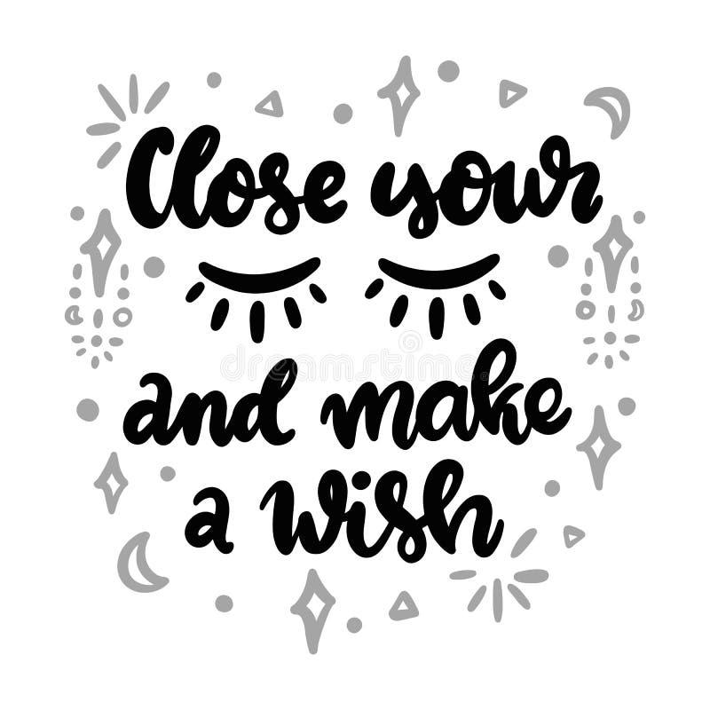 闭上您的眼睛并且做愿望 向量例证