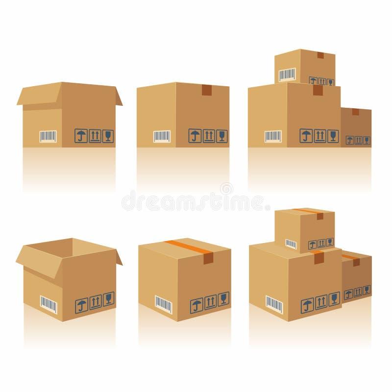 闭合开放回收棕色纸盒交付包装的箱子易碎的标志 皇族释放例证