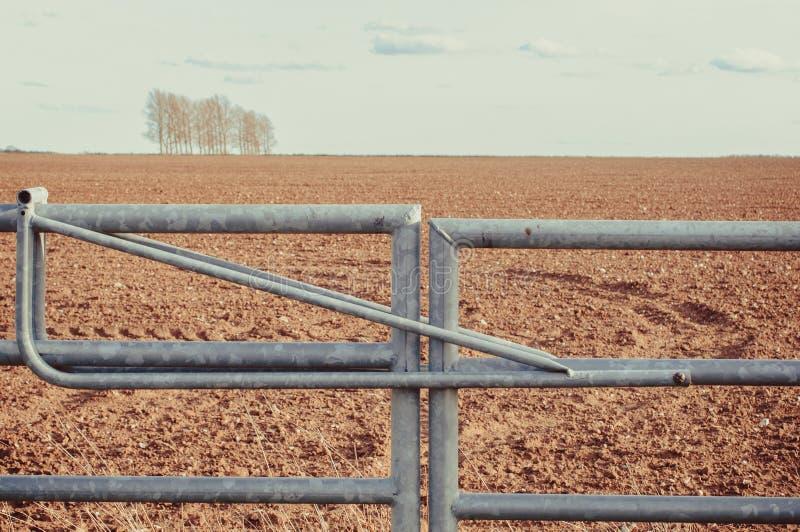 闭合的农田金属门在英国 库存图片