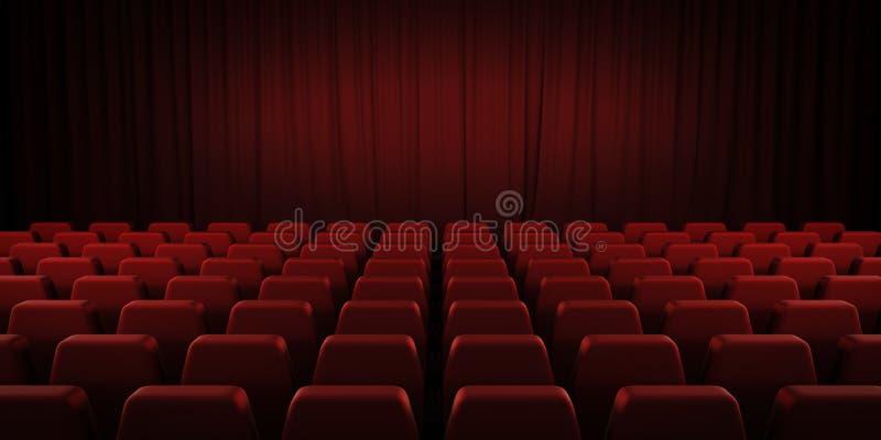 闭合的剧院红色帷幕和位子 3d 免版税图库摄影