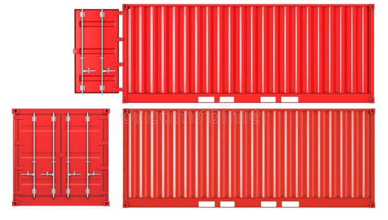 闭合的容器前面被开张的侧视图 皇族释放例证