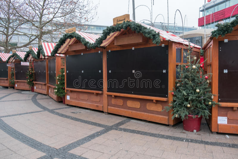闭合的市场失去作用在圣诞节市场上在柏林 库存图片
