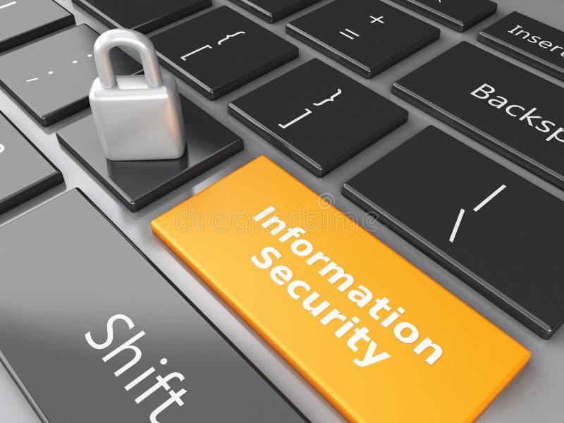闭合的挂锁和信息保障在键盘 PR 库存例证