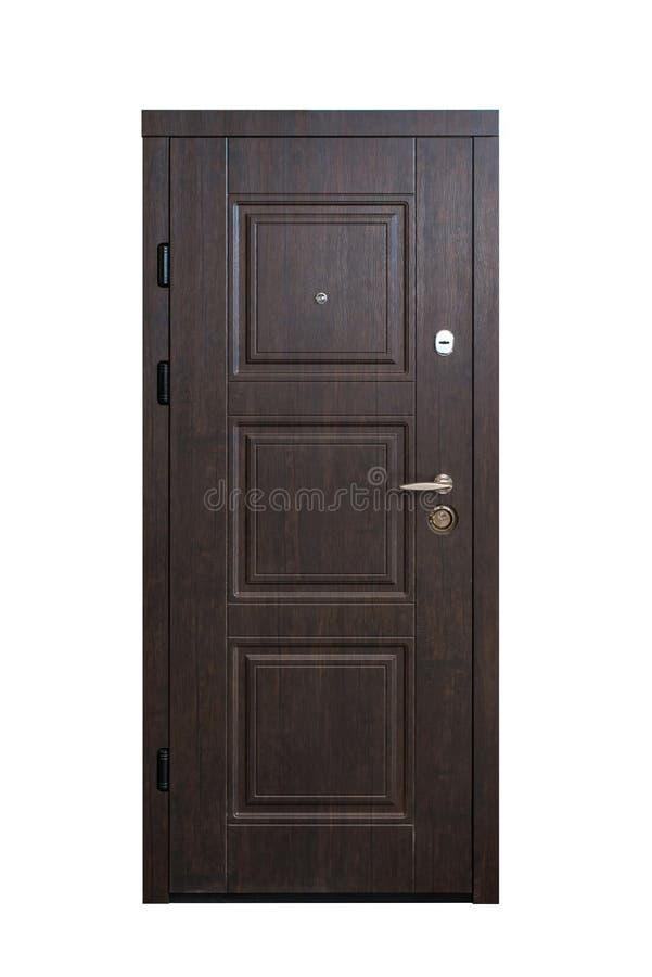 闭合的木门被隔绝在白色背景 图象的绝密 对公寓的入口 o的布朗木表面饰板前门 免版税库存图片
