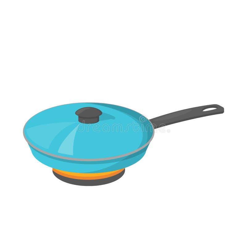 闭合的煎锅 晚餐或午餐的厨具 库存例证