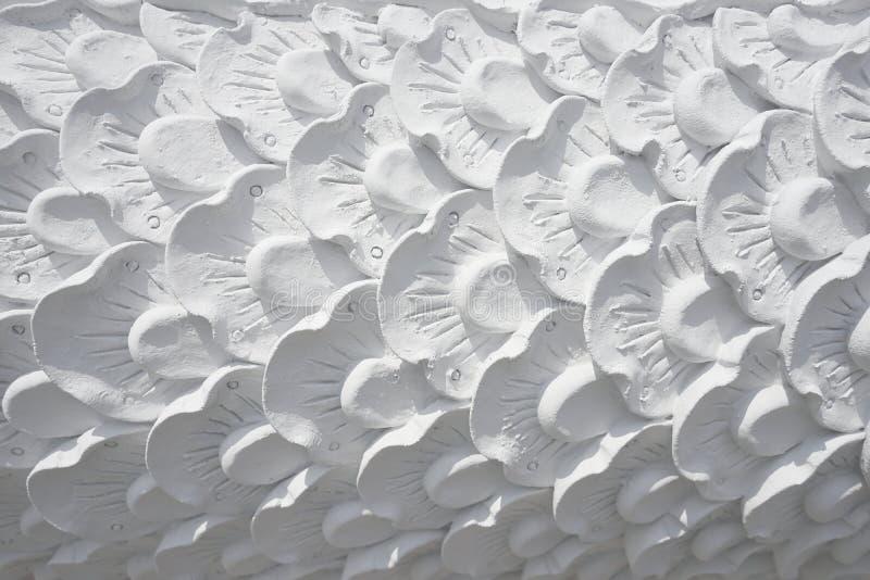 闭合的白色泰国艺术葡萄酒具体灰泥设计  免版税库存图片