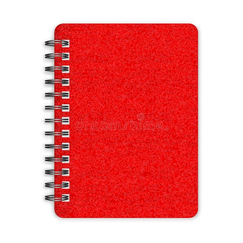 闭合的红色螺纹笔记本 库存例证