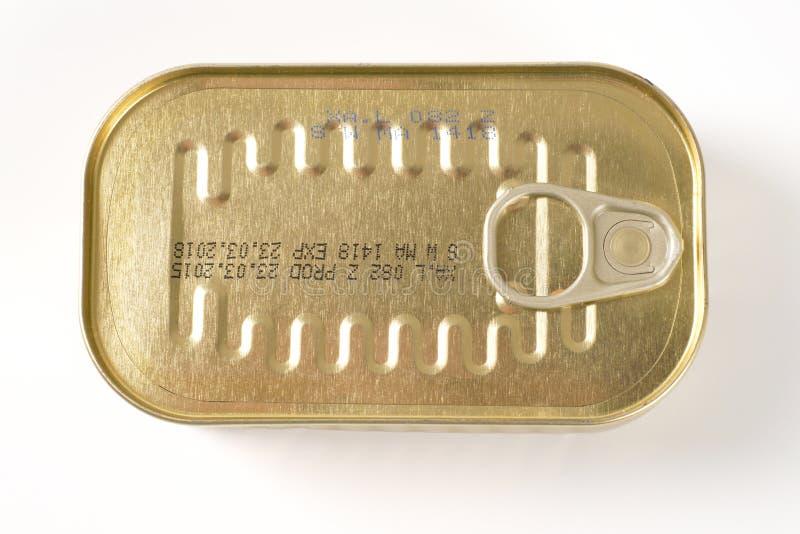 闭合的罐沙丁鱼 免版税库存图片