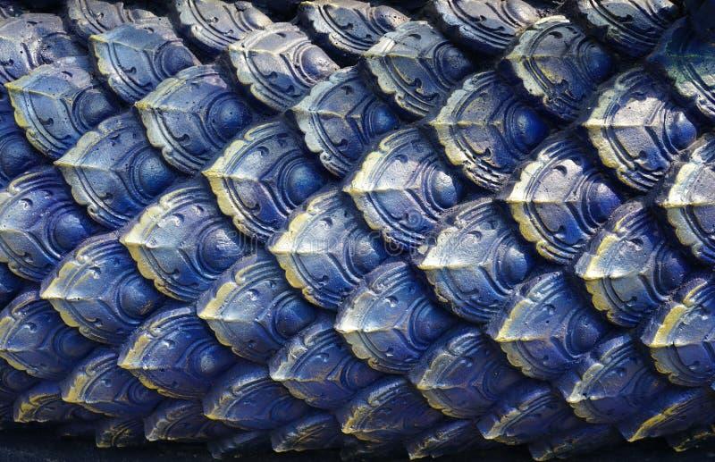 闭合的蓝色泰国艺术葡萄酒具体灰泥设计  免版税库存图片