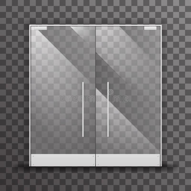 闭合的透明商店双门现实玻璃建筑设计内部元素传染媒介例证 库存例证