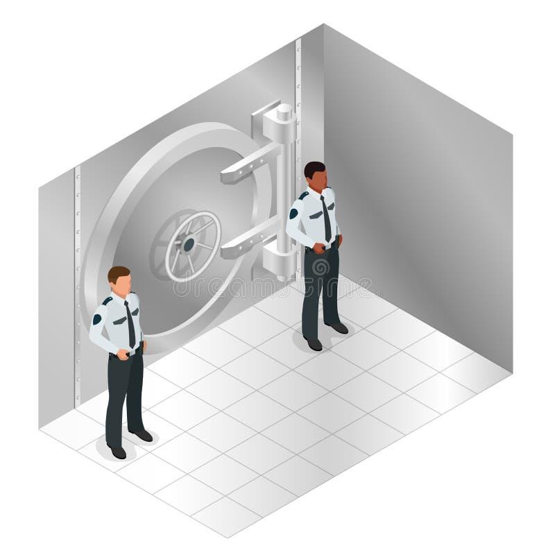 闭合的钢银行地下室门 绝密对银行s仓库和两卫兵 传染媒介等量例证 皇族释放例证