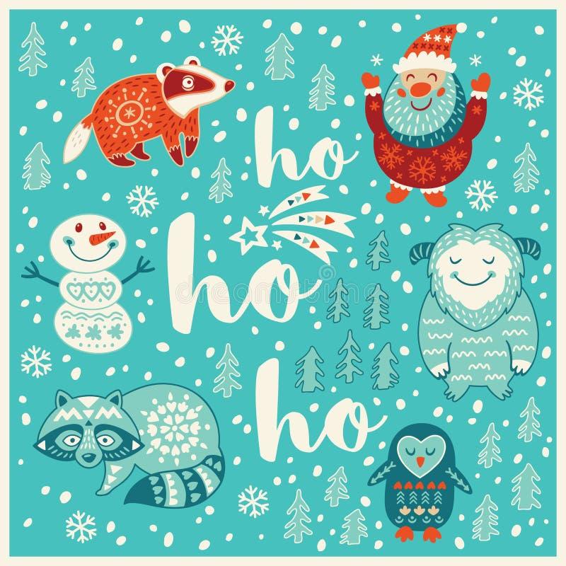问候与雪人、浣熊、圣诞老人和獾的假日卡片 库存例证