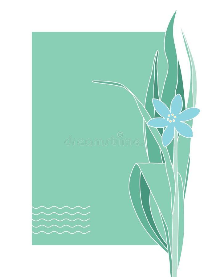 问候或明信片与蓝色花 安置文本 皇族释放例证