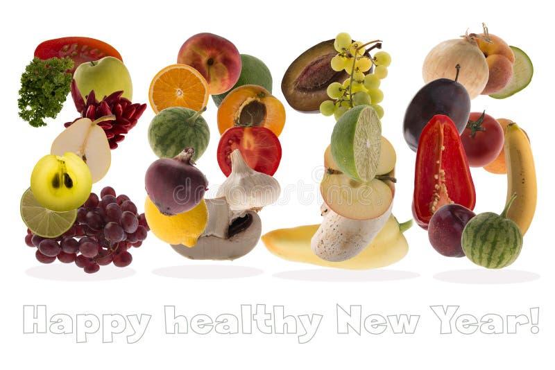2016年问候用水果和蔬菜在白色背景 免版税库存照片