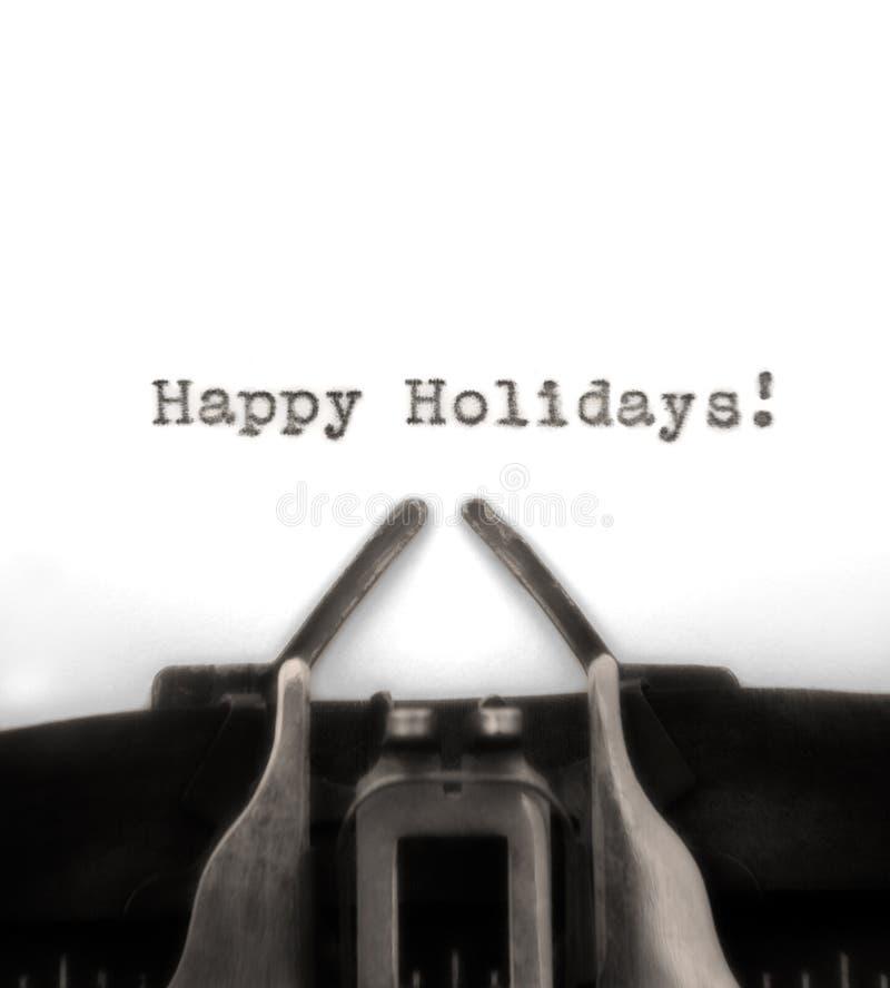 问候节假日被键入的打字机葡萄酒 图库摄影