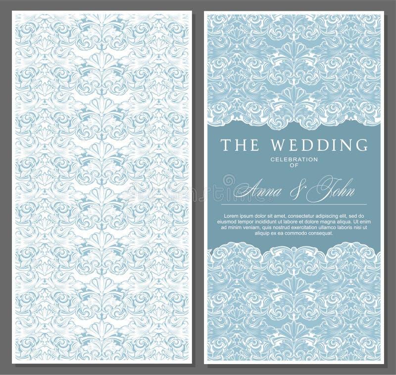 问候,邀请,婚礼,仿照葡萄酒,巴落克式样,洛可可式,新生样式的卡片 库存例证
