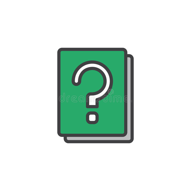 问号书填装了概述象,线传染媒介标志,线性五颜六色的图表 向量例证