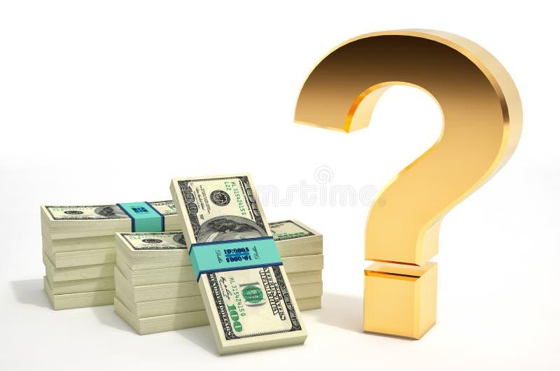 问号和一百美元钞票 向量例证