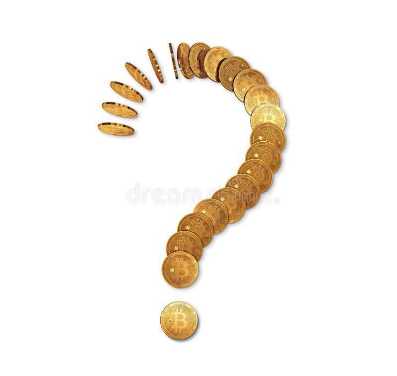 问号由被隔绝的bitcoin多米诺做成在白色 不定的未来bitcoin概念 库存例证