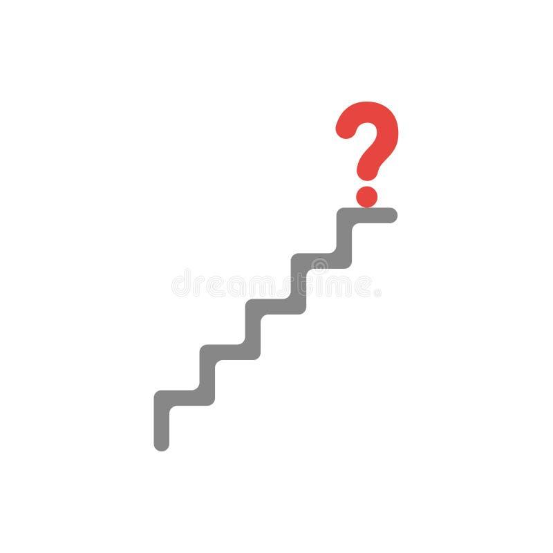 问号的平的设计传染媒介概念在台阶顶部的 库存例证